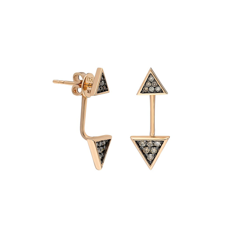 """Emblema"" Triangle Ear Jacket - Rose Gold and Cognac Diamonds"