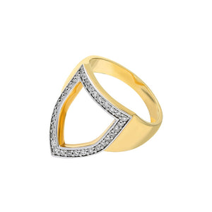 """Open Shield"" Ring in Yellow Gold and White Diamonds"