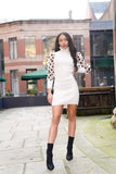 White Polka Dot Balloon Sleeves Knitted Jumper Dress