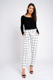 Check Print Cigarette Trousers