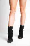 Black Studded Pointed Toe Boots