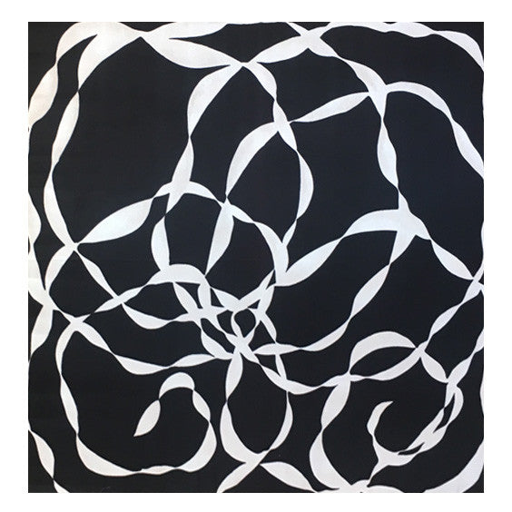 Black and White Abstract on Silk