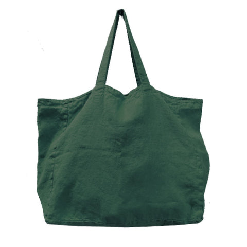Stonewashed Linen Tote : Olive Green