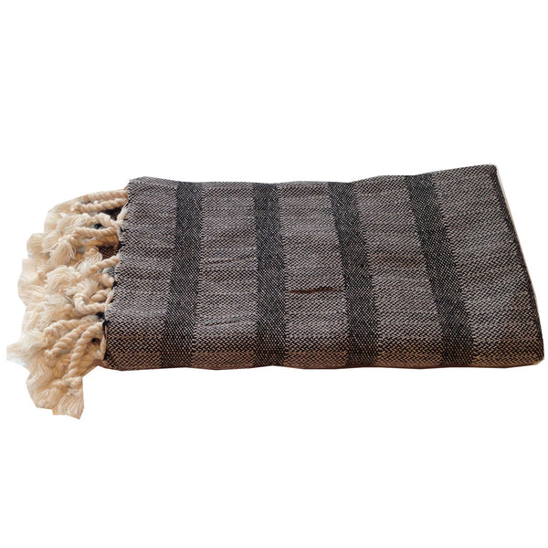 Turkish Towel : Black Stripe Hand Towel