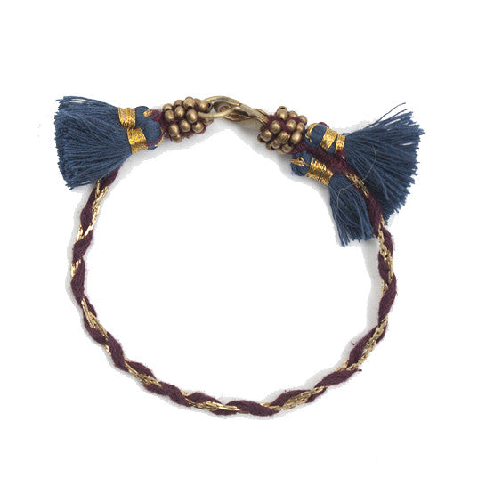 Massa Bracelet : Plum with Indigo Tassel