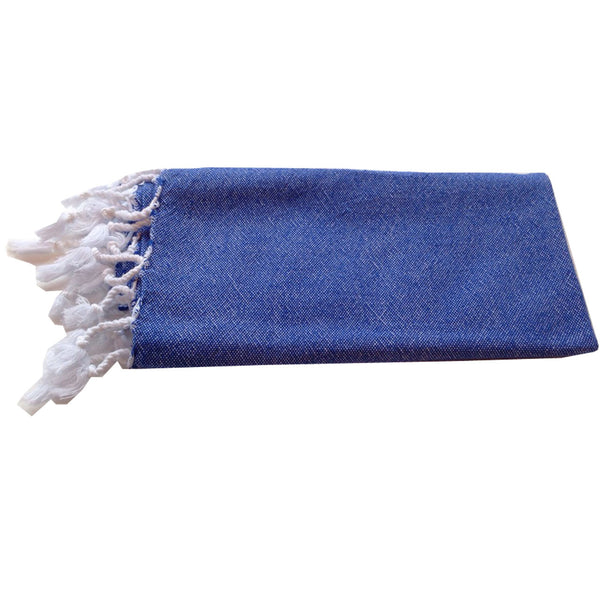 Turkish Towel : Solid Blue Hand Towel