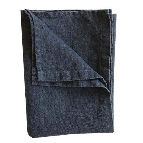 Stonewashed Linen Hand Towel : Charcoal