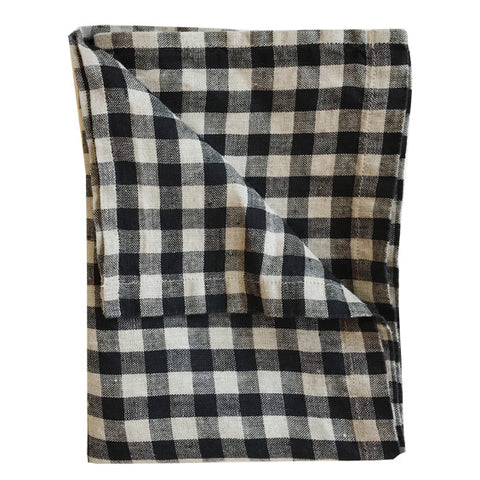Stonewashed Linen Hand Towel : Black Gingham