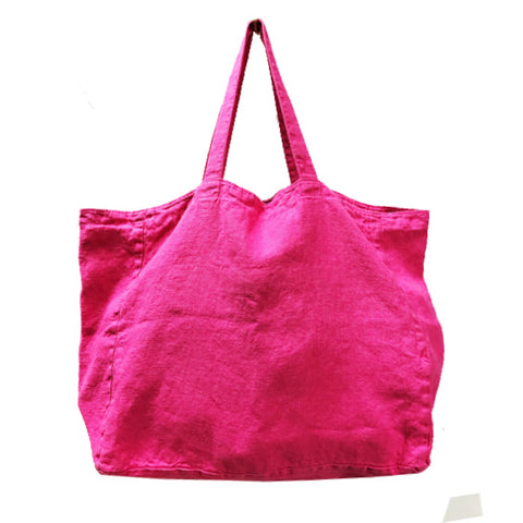 Stonewashed Linen Tote : Hot Pink