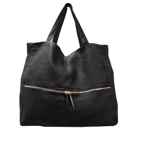Stonewashed Linen Tote : Black with Zipper