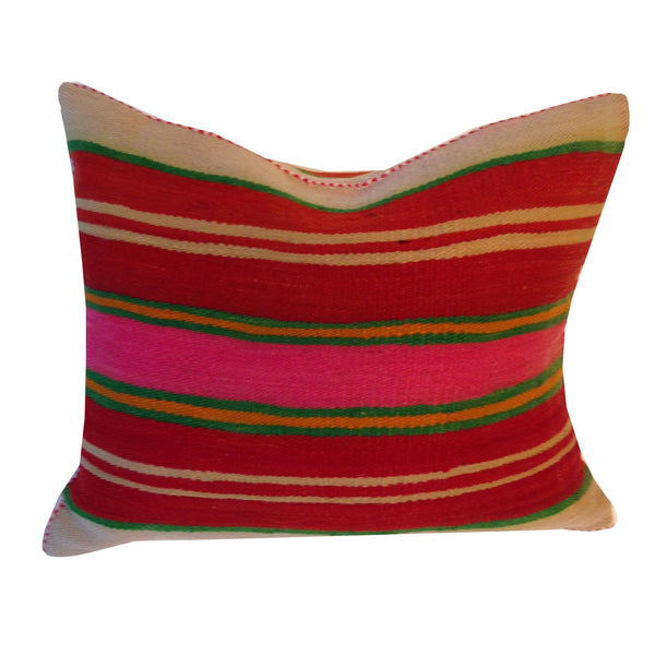 Moroccan Pillow - Green and Pink Stripes