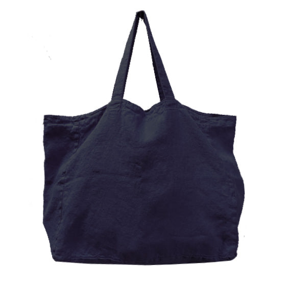 Stonewashed Linen Tote : Navy