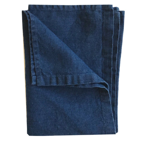Stonewashed Linen Hand Towel : Navy