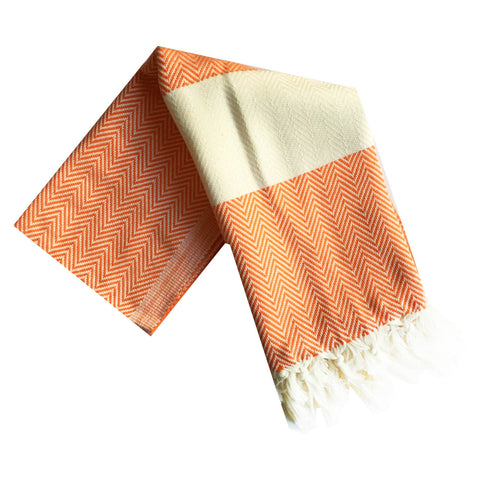 Chevron Turkish Towel : Orange