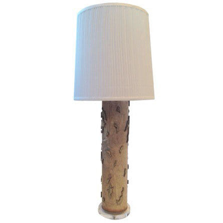 Antique Wallpaper Roller Lamp: Green Organic Print