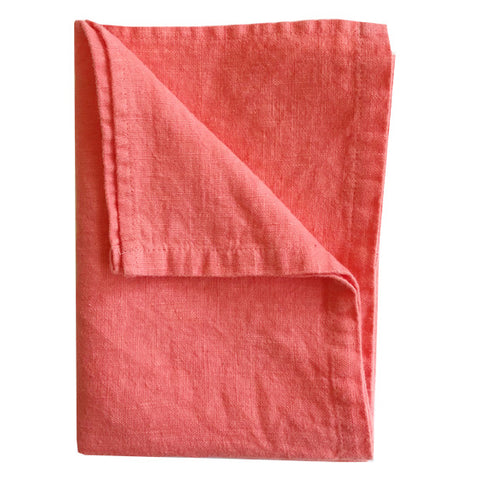 Stonewashed Linen Hand Towel : Papaya