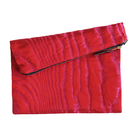 Fold-Over Clutch : Red Silk