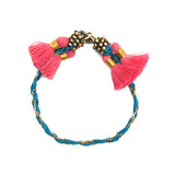 Massa Bracelet :  Teal with Pink Tassels