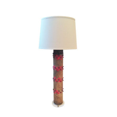Antique Wallpaper Roller Lamp : Pink Print