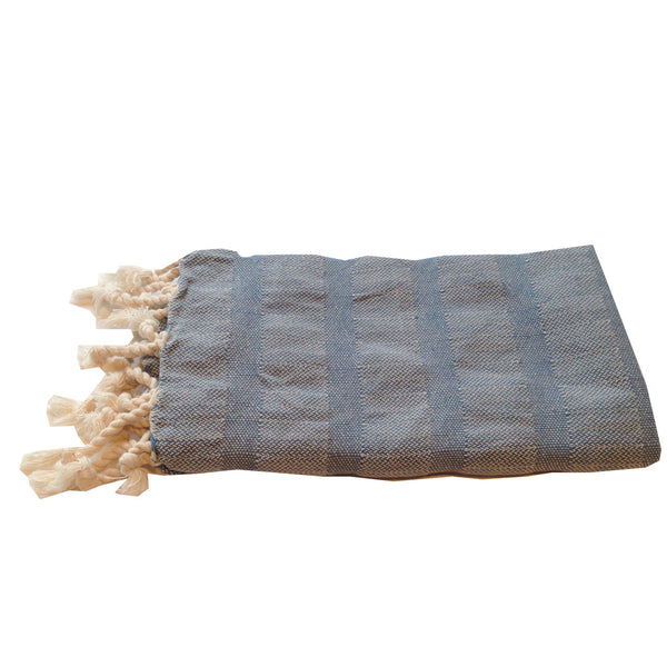 Turkish Towel : Slate Stripe Hand Towel