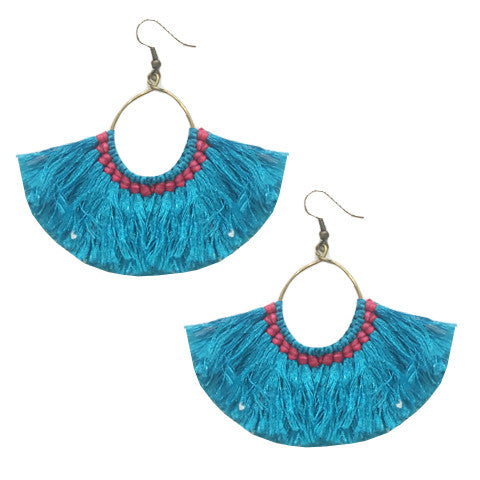 Margo Fringe Earrings : Blue
