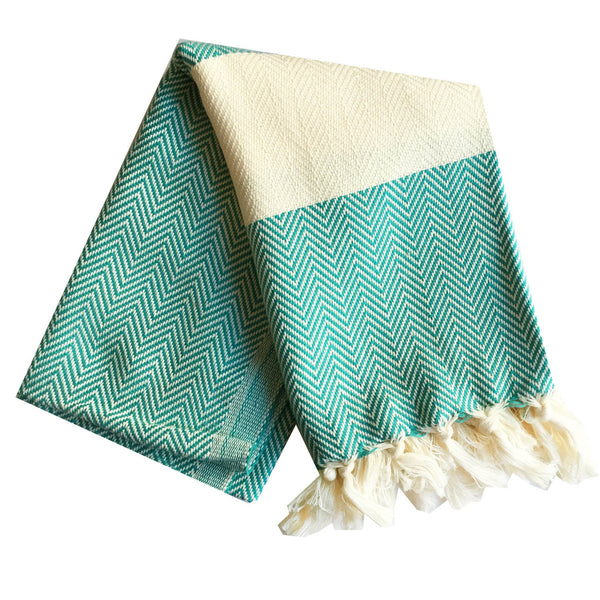 Chevron Turkish Towel : Turquoise