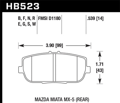 Hawk 06-10 Mazda Miata Mx-5 Base Blue 9012 Race Rear Brake Pads