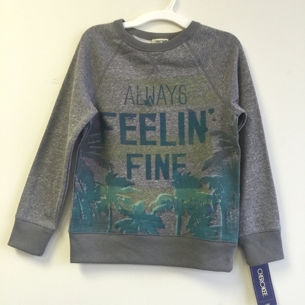 NEW, Cherokee Boy's Always Feelin' Fine Graphic Pullover Grey Sweatshirt