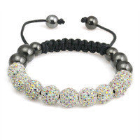 Crystal Ball Hematite Shamballa Inspired Bracelet 10mm - Ivory - LiquidationOutlet.ca