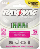 Rayovac Platinum Rechargable 4PK AAA 750mAh NiMH Batteries - PL724-4AP - LiquidationOutlet.ca