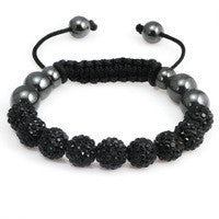 Crystal Ball Hematite Shamballa Inspired Bracelet 10mm - Black - LiquidationOutlet.ca