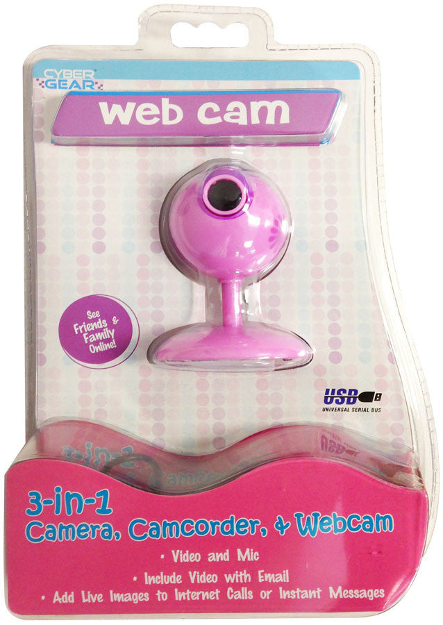 Cyber Gear Pink Daisy VGA Webcam With Microphone - 92897-WAL