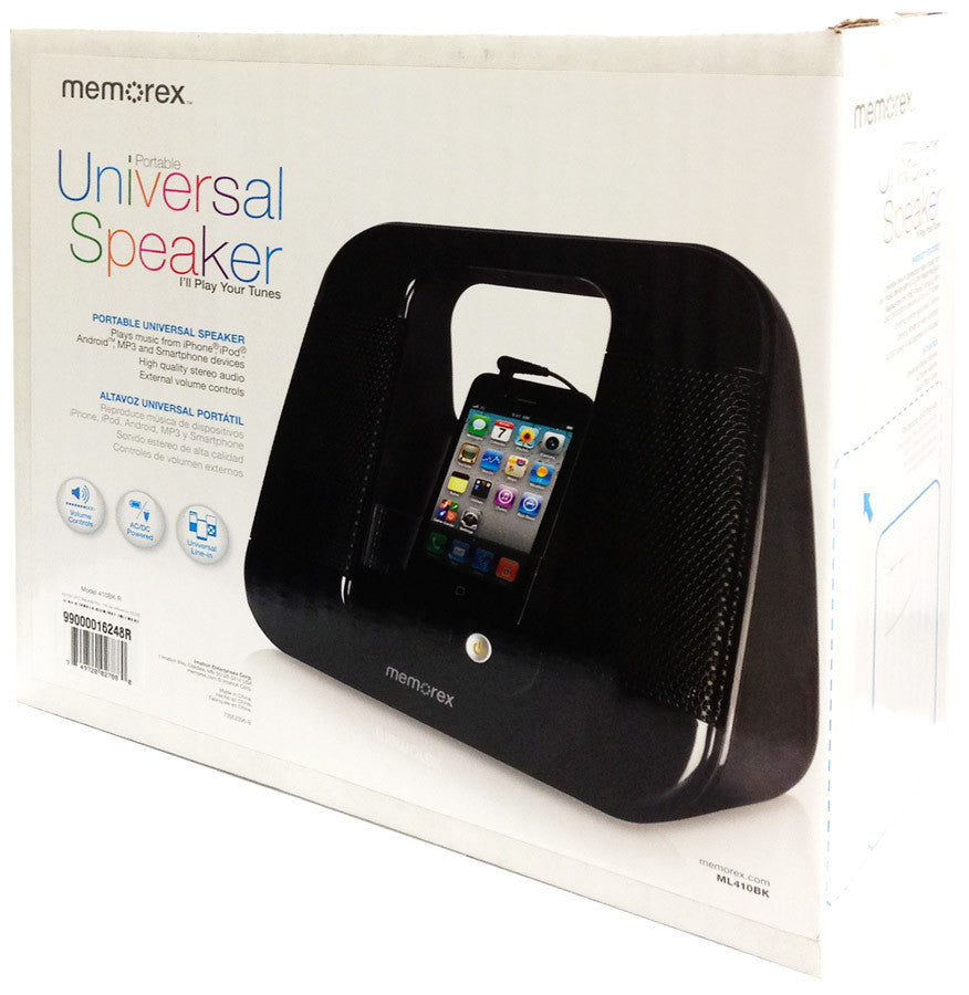 Memorex Portable 3.5mm Universal Speaker For iPod/Android/MP3 - Factory Refurbished - C Class - ML410BK-C-RF - LiquidationOutlet.ca