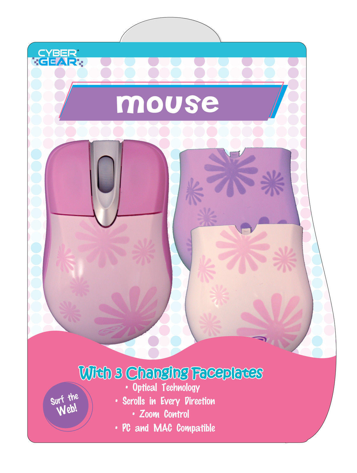 Sakar Girl Gear Pink Daisy USB Optical Mouse w/Faceplates for PC & MAC - LiquidationOutlet.ca