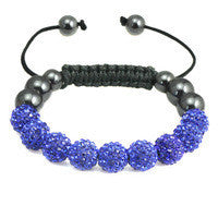 Crystal Ball Hematite Shamballa Inspired Bracelet 10mm - Blue - LiquidationOutlet.ca