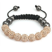 Crystal Ball Hematite Shamballa Inspired Bracelet 10mm - Champagne - LiquidationOutlet.ca