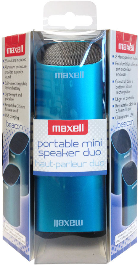 Maxell Beacon Aluminum Rechargeable 3.5mm Portable Mini Speaker Duo - Blue - 191272 - LiquidationOutlet.ca