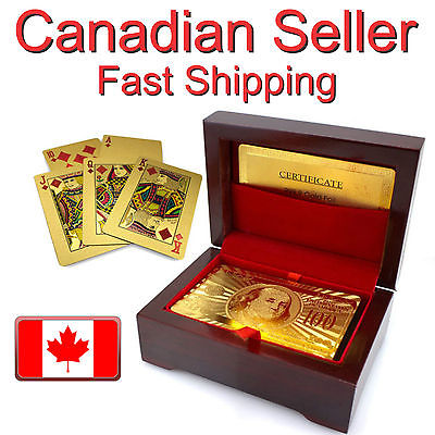 24K Karat Gold Plated Poker Playing Card with Wood Gift Box and Certificate