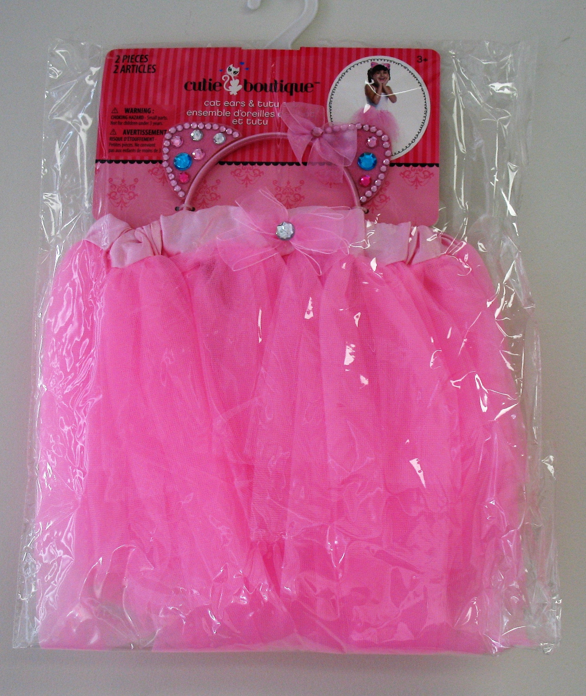 Brand New, Cutie Boutique Cat Ears Headband & Girl's Pink Tutu for Ages 3 & up
