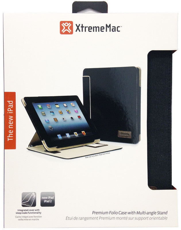XtremeMac ThinFolio Premium Folio Case With Multi-Angle Stand For iPad 2/3/4 - Black Canvas - IPD-CTF3-13 - LiquidationOutlet.ca