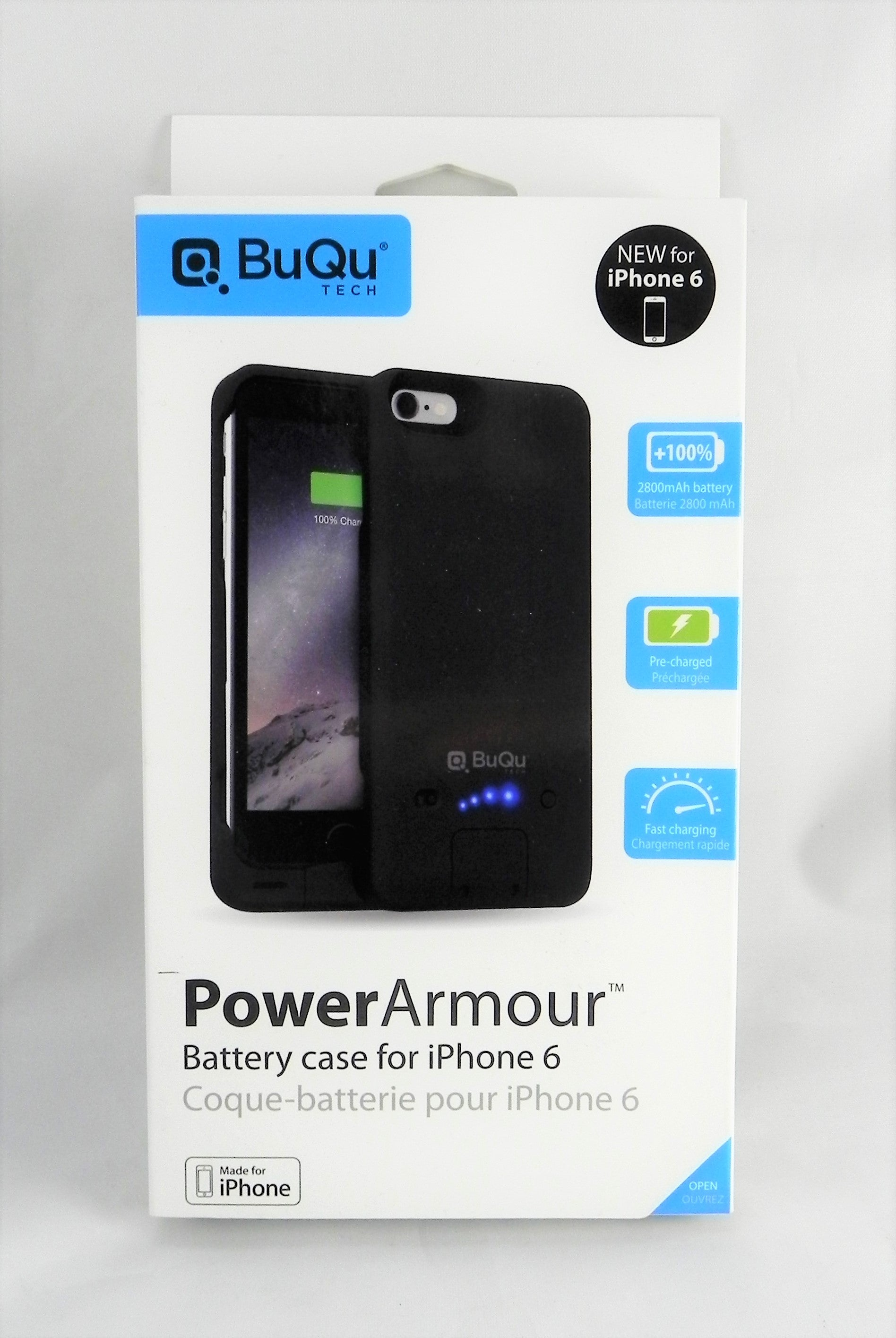 BuQu Tech PowerArmour Battery Case for iPhone 6 - Retail Packaging - Black