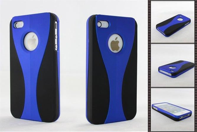 Three-Piece Black Case For Apple iPhone 4 / 4S - blue - LiquidationOutlet.ca