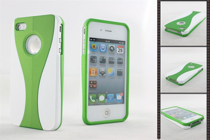 Three-Piece White Case For Apple iPhone 4 / 4S - green - LiquidationOutlet.ca