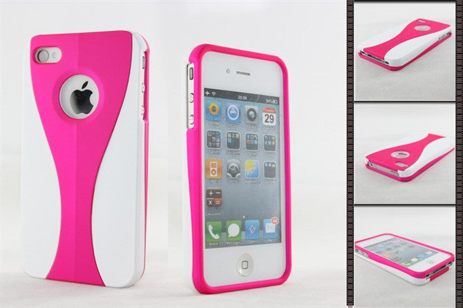 Three-Piece White Case For Apple iPhone 4 / 4S - pink - LiquidationOutlet.ca