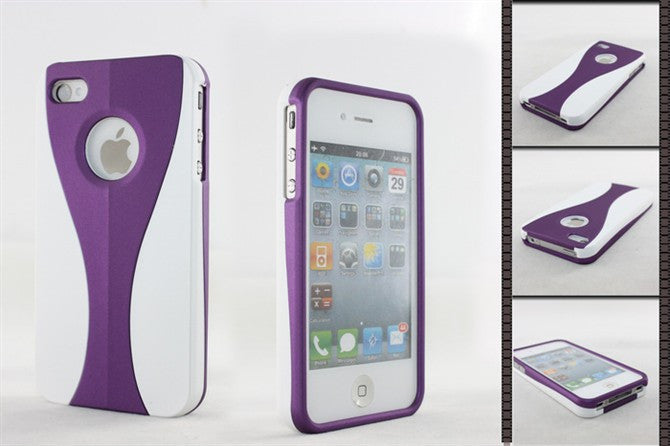 Three-Piece White Case For Apple iPhone 4 / 4S - purple - LiquidationOutlet.ca