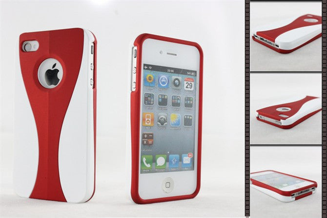 Three-Piece White Case For Apple iPhone 4 / 4S - red - LiquidationOutlet.ca
