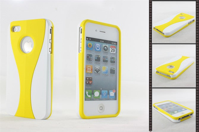 Three-Piece White Case For Apple iPhone 4 / 4S - yellow - LiquidationOutlet.ca
