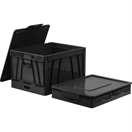 New, STOREX Set of 4 Collapsible Crate with Lid (open box) *Pick Up Only - B