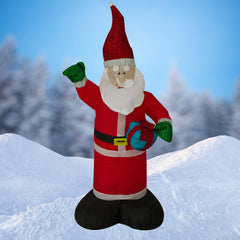 NEW, 4ft Inflatable Glitter Santa with Inside Lights