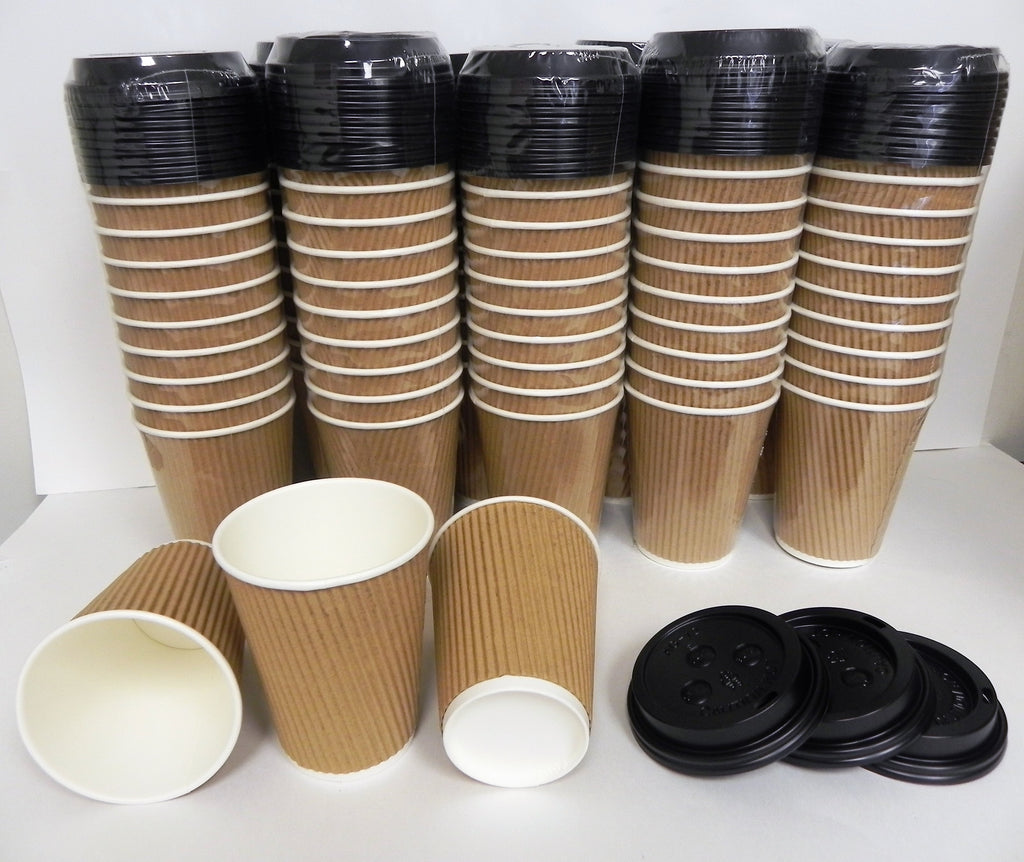 Coffee Tea Paper Cups with Lids Triple Walled Disposable Paper- NEW